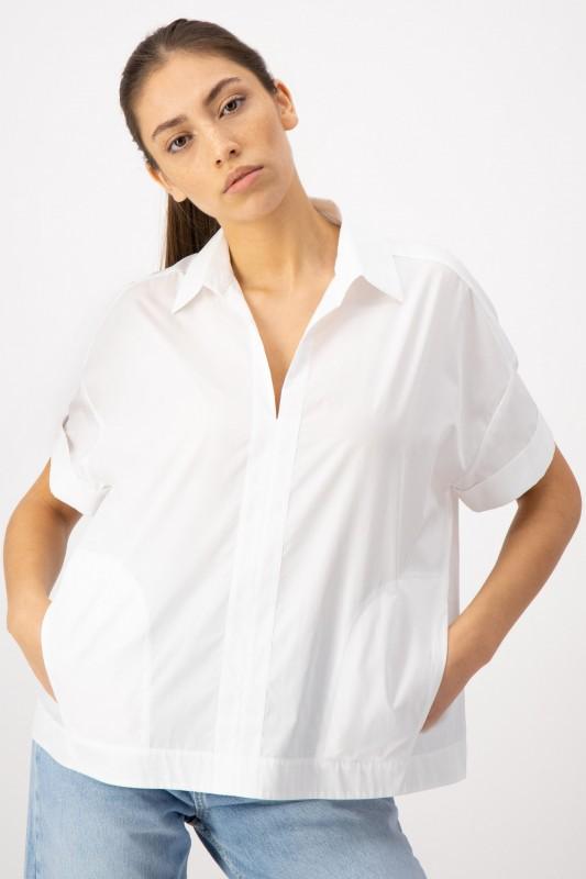 Weiße Shirtbluse mit Hemdkragen von LOUIS and MIA