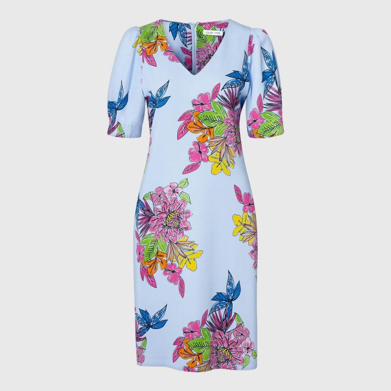 Knielanges Kurzarm Kleid mit Blumen Print von LOUIS and MIA