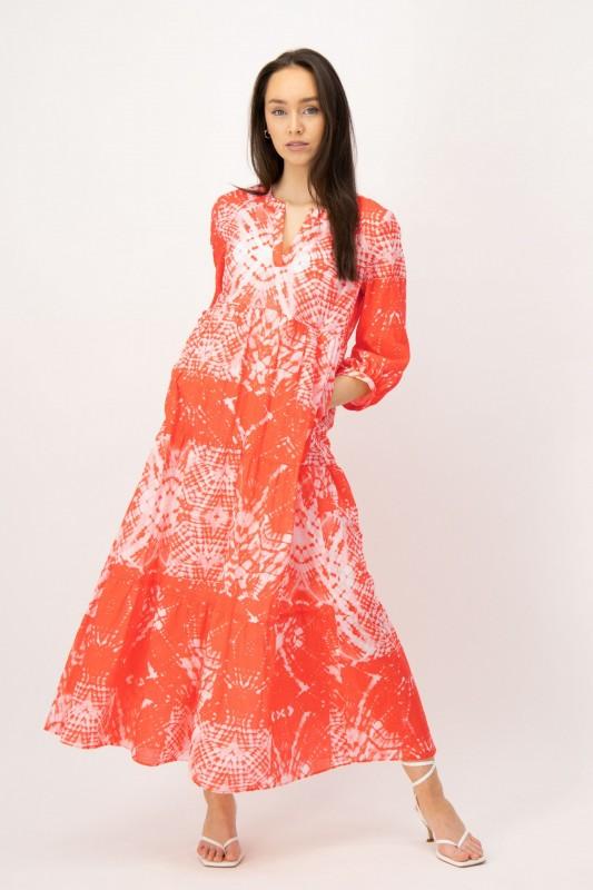 Volant Kleid mit Batik Muster in Orange und Weiß von LOUIS and MIA