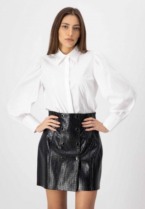 Weiße Langarm Bluse aus hochwertiger Baumwolle mit Puffärmeln von LOUIS and MIA
