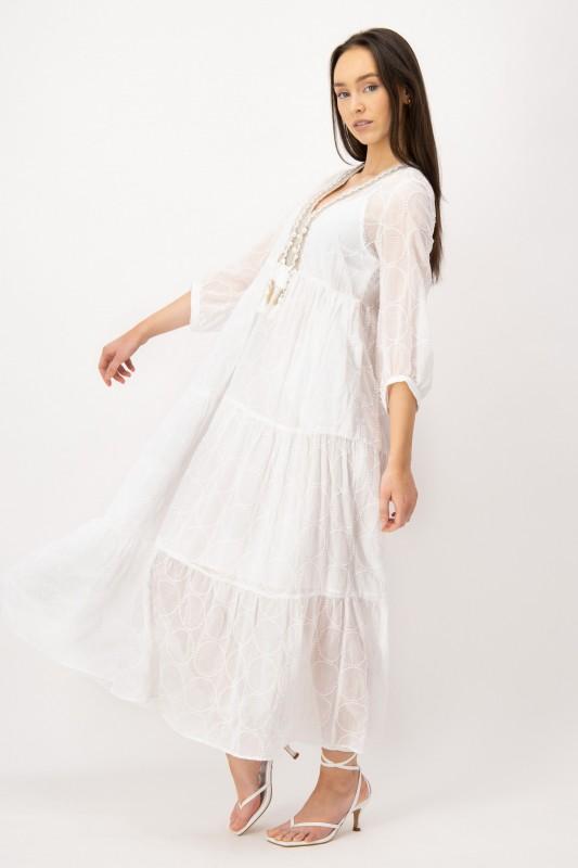 Maxi Kleid in Weiß mit V-Ausschnitt von LOUIS and MIA