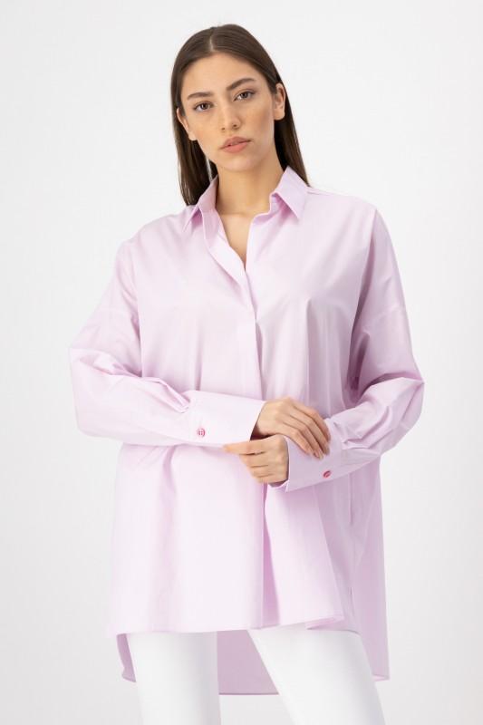 Lange Bluse mit Hemdkragen in Rosa von LOUIS and MIA