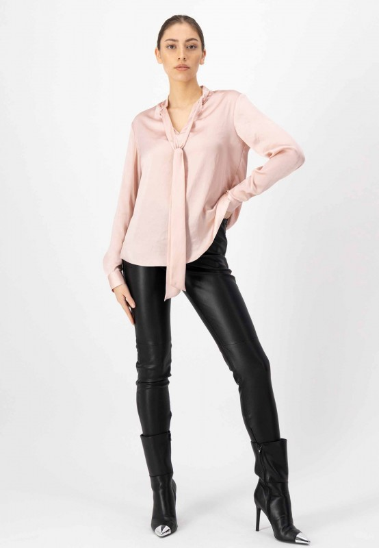 Langarm Bluse mit geknöpften Manschetten und geschlitztem Saum in Rosa