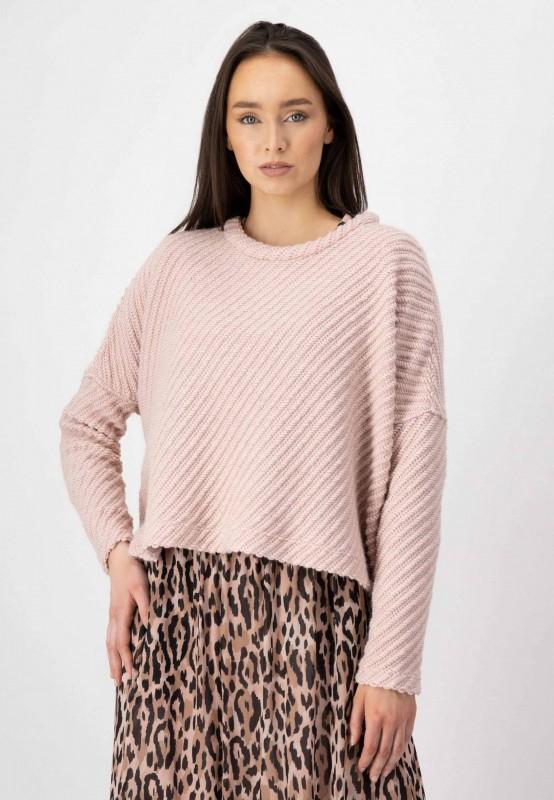 Rosa Strickpullover mit überschnittenen Schultern aus hochwertigem Materialmix mit Wolle