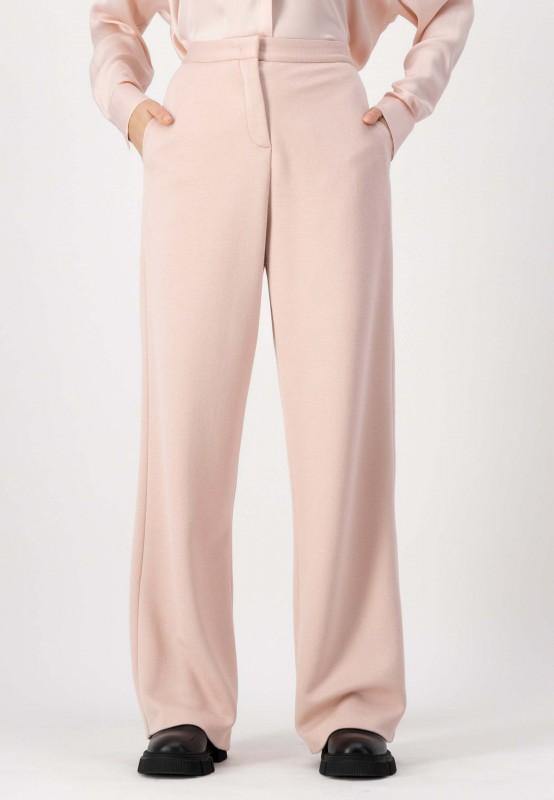 Rosa Hose mit weitem Bein aus hochwertiger Viskose Mischung