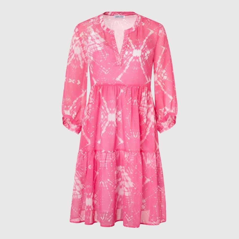 Knielanges Batik Kleid aus Viskose und Baumwolle in Pink und Weiß von LOUIS and MIA
