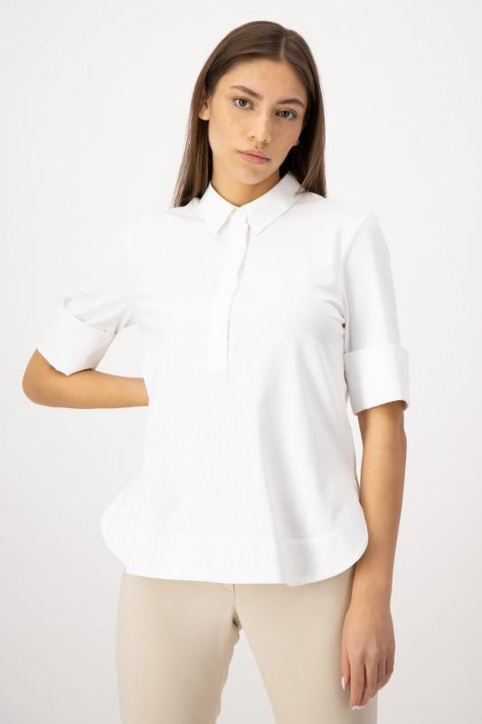 Jerseybluse mit Hemdkragen in Weiß von LOUIS and MIA