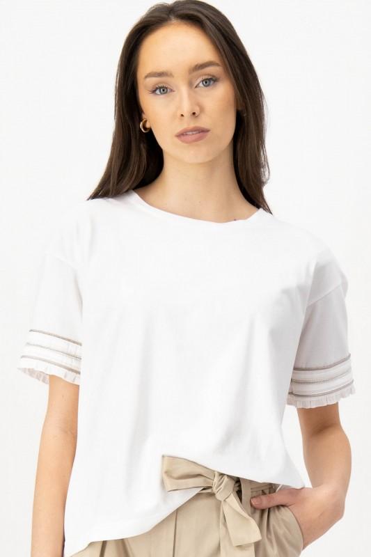 T-Shirt mit Schmuckbesatz von LOUIS and MIA
