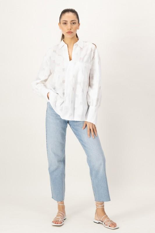 Langarm Bluse mit gewebtem Muster von LOUIS and MIA