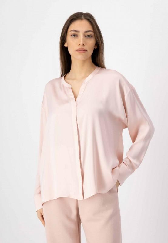 Langarm Bluse mit verdeckter Knopfleiste aus Seide in Rosa