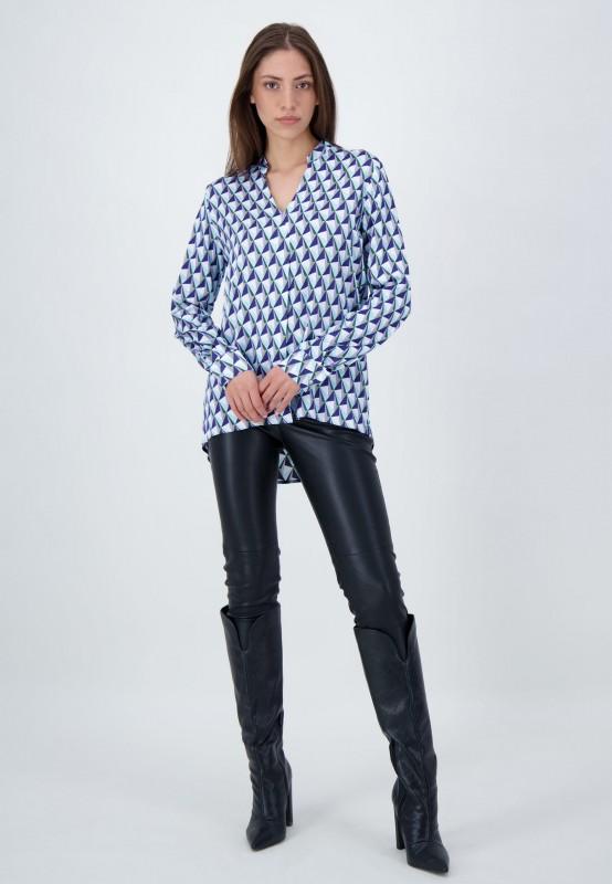 Langarm Bluse aus Viskose mit grafischem Muster in Blau, Grün und Flieder