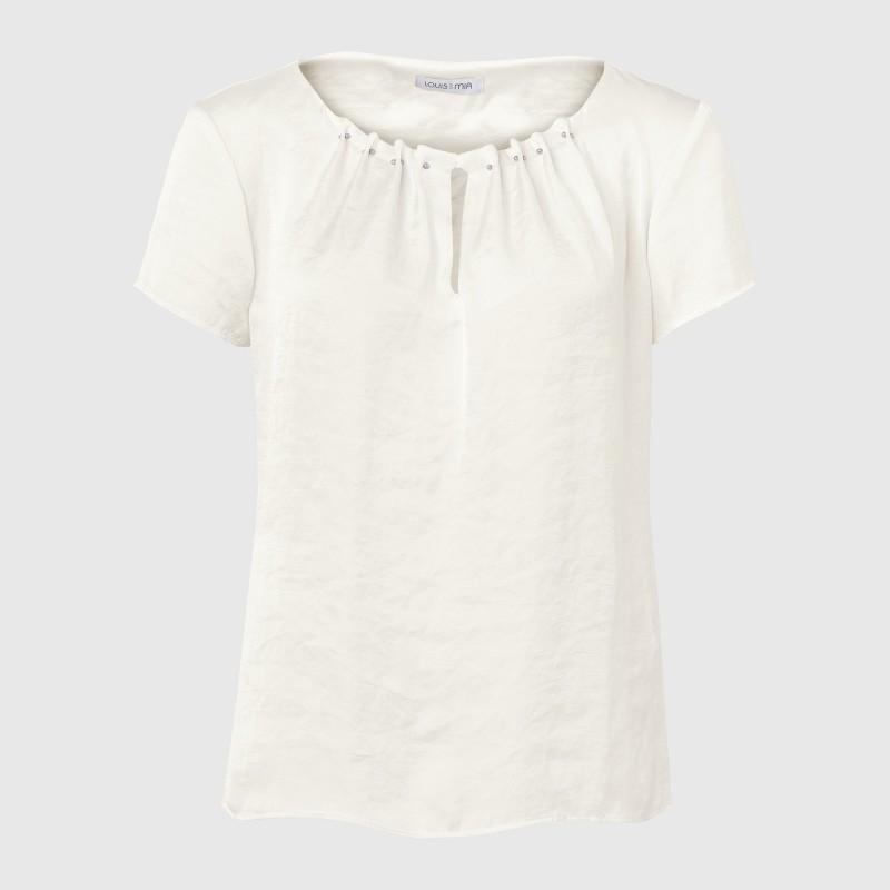 Kurzarm Shirtbluse mit geschlitztem Rundhals Auschnitt von LOUIS and MIA