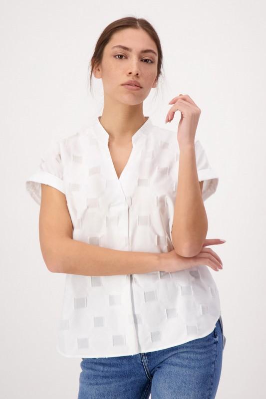 Kurzarm Shirtbluse mit V-Ausschnitt und Falte auf der Vorderseite von LOUIS and MIA