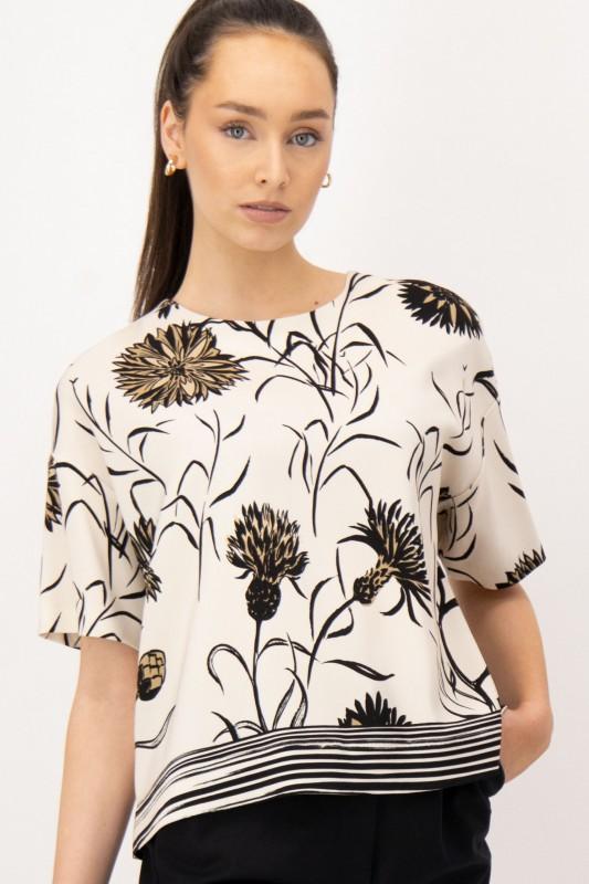 Beige Shirtbluse mit floralem Druck in Schwarz von LOUIS and MIA