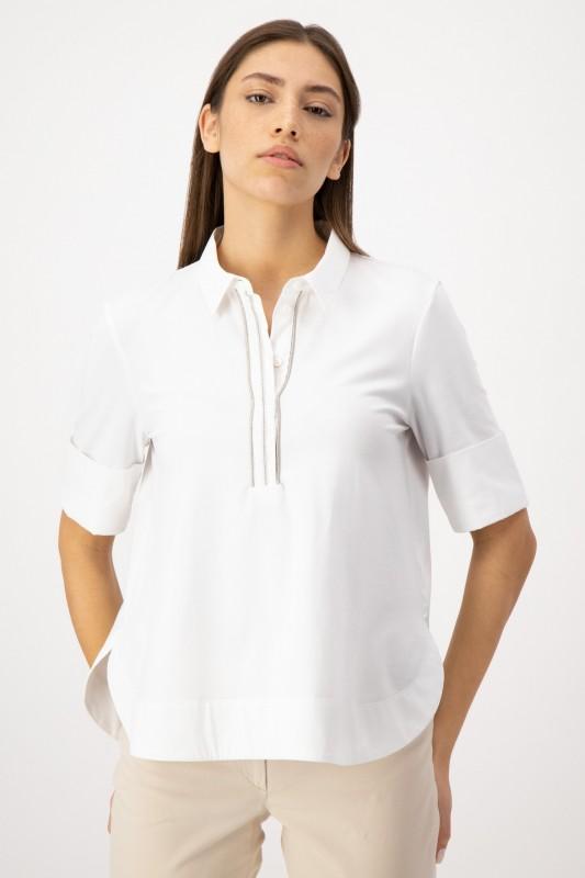 Jerseybluse mit Hemdkragen in Weiß