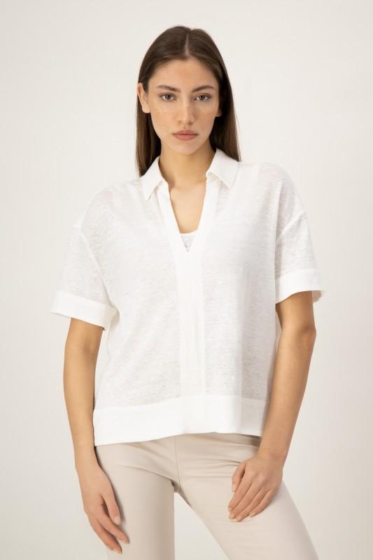 Shirt aus weißem Leinen von LOUIS and MIA