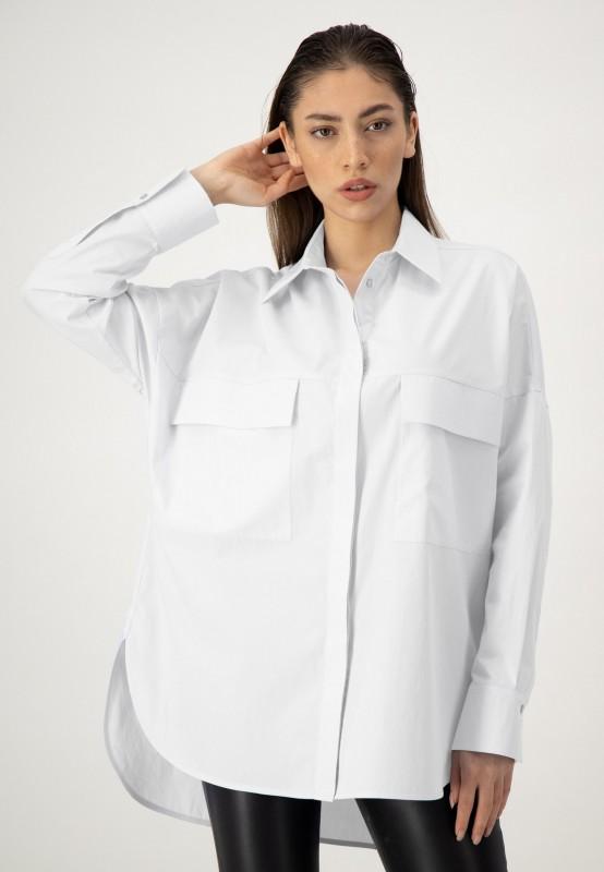 Weiße Oversize Bluse aus Baumwolle