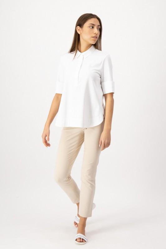 Weiße Jerseybluse Weißes Blusenshirt mit Polokragen aus elastischem Jersey von LOUIS and MIA