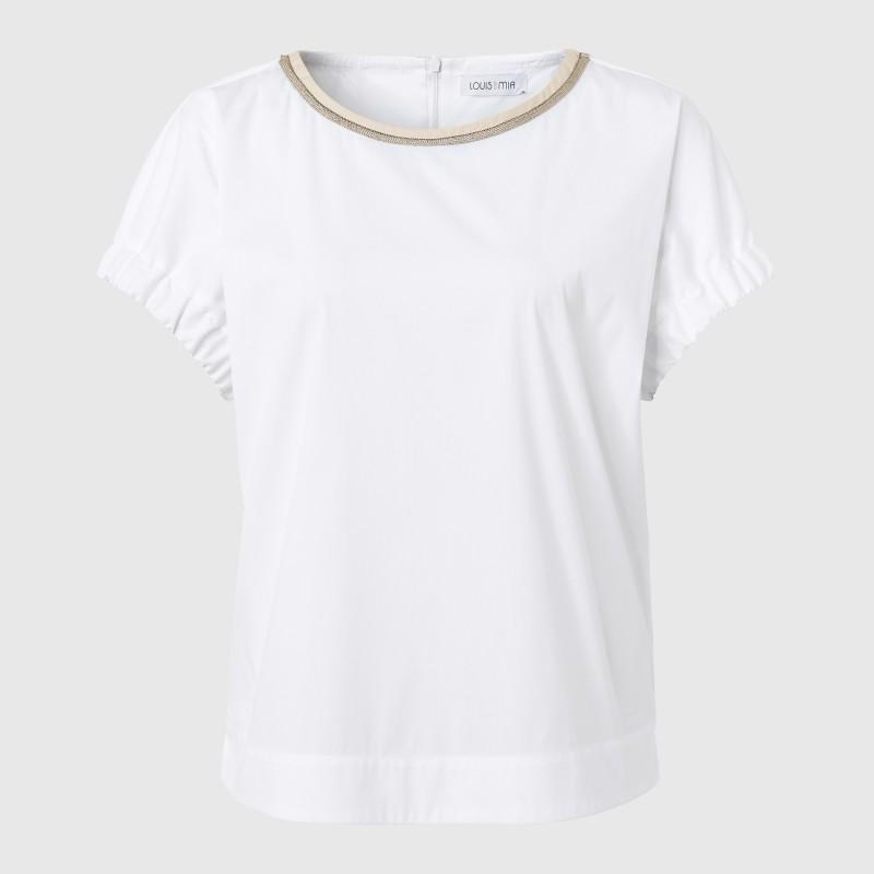 Kurzarm Bluse mit verziertem Ausschnitt in Weiß