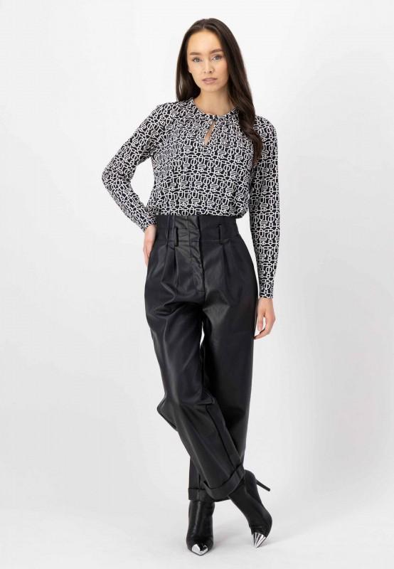 Shirtbluse mit Retro Print aus knitterfreien Viskose mit Elasthan von LOUIS and MIA