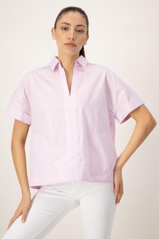 Shirtbluse mit V-Ausschnitt und Hemdkragen von LOUIS and MIA