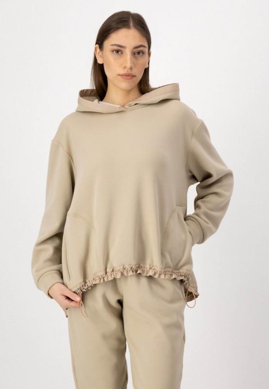 Kapuzen Sweatshirt aus weichem Materialmix in Beige von LOUIS and MIA