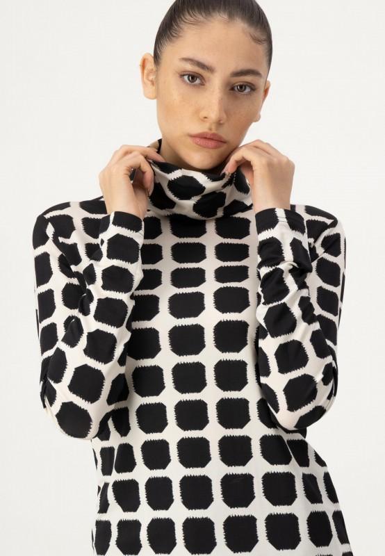 Langarmshirt aus hochwertiger Viskose mit Rollkragen und grafischem Muster