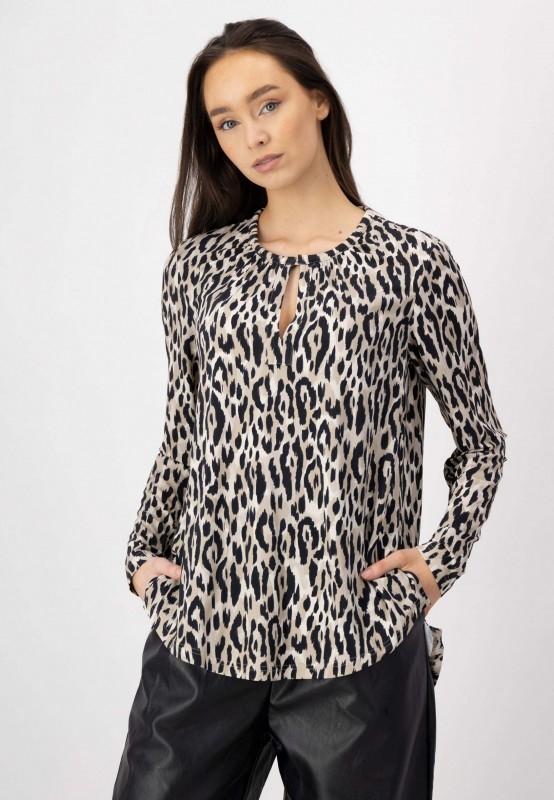 Shirt Bluse mit Animal Print aus Viskose und Elasthan von LOUIS and MIA