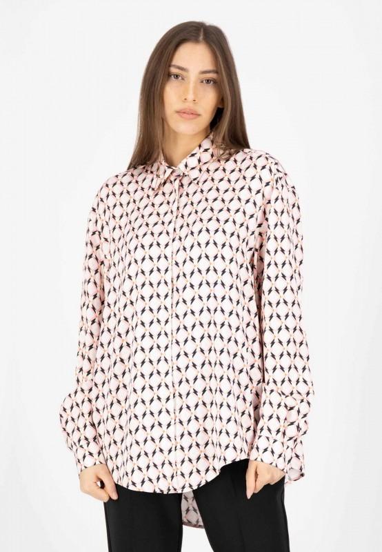 Viskose Bluse mit Hemdkragen und Knopfleiste in Rosa, Weiß, Schwarz