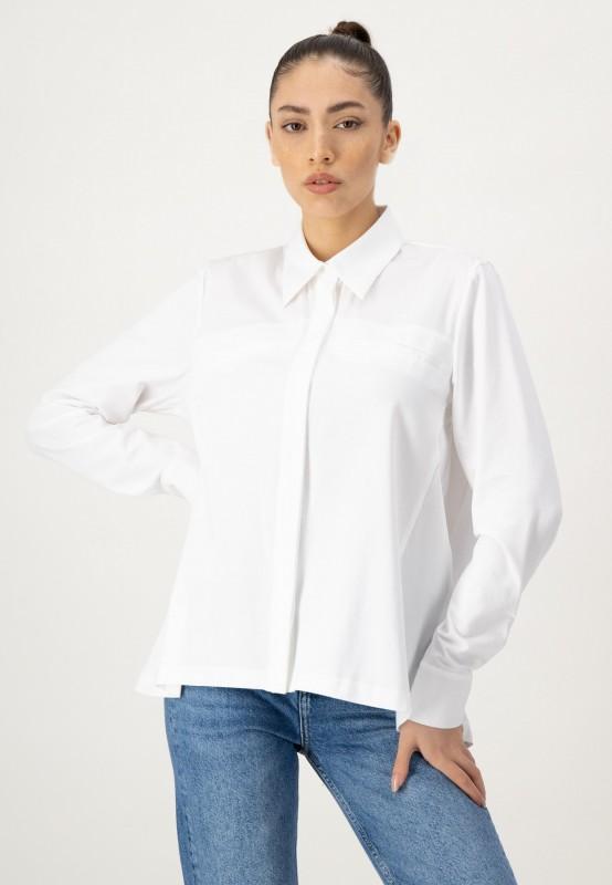 Weiße Langarmbluse mit Brusttaschen aus nachhaltiger Baumwolle