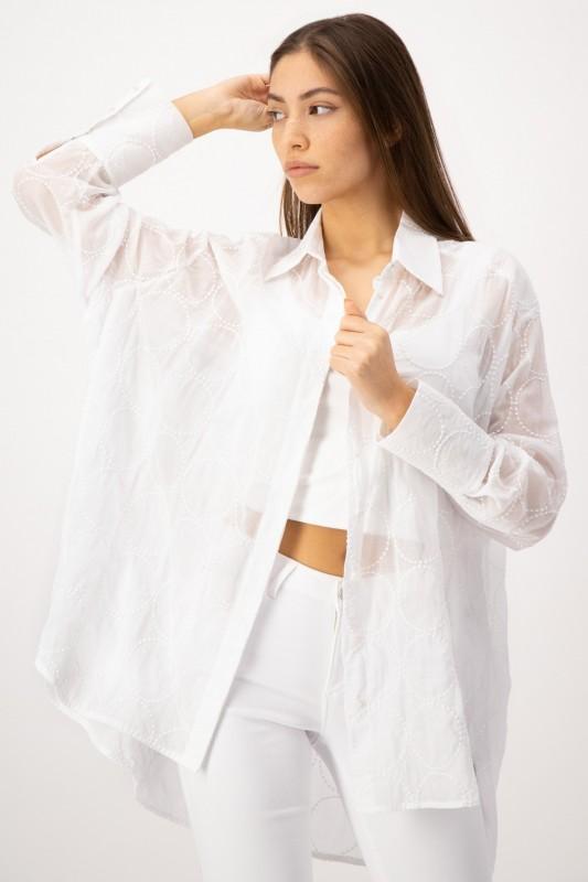 Weiße Hemdbluse mit verdeckter Knopfleiste von LOUIS and MIA