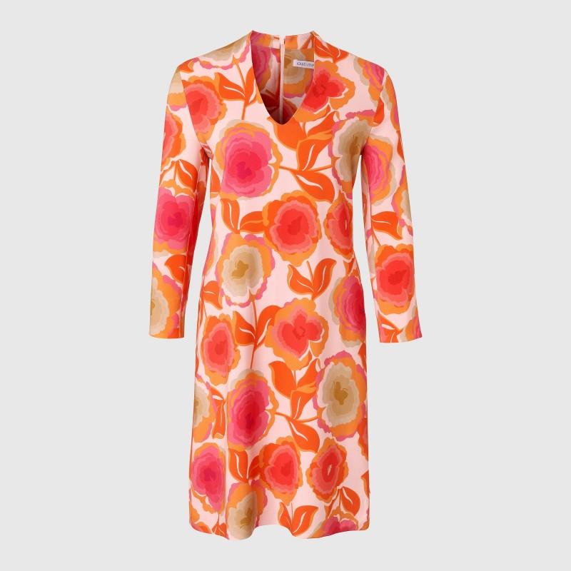 Viskosekleid mit Blumen Print in Orange und Pink von LOUIS and MIA